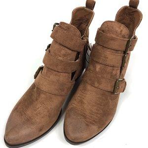 Kelsey Triple Buckle Cut Out Western Boots 6.5